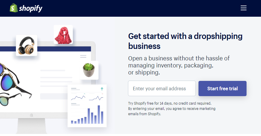 shopify landing page for starting a dropshipping business