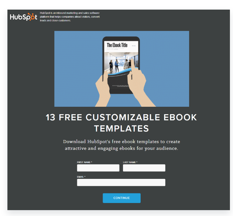 an example of a HubSpot landing page used to capture email addresses and names