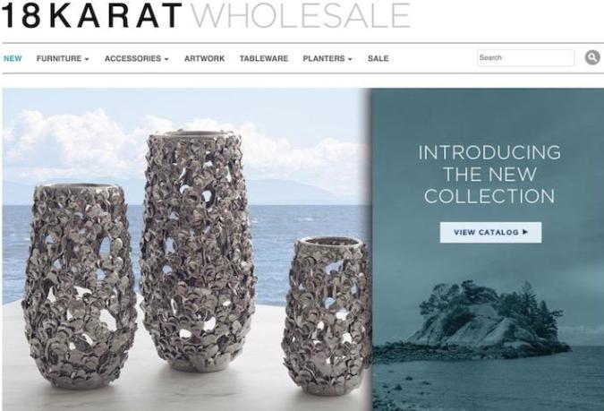 18 Karat wholesale landing page built with Shopify