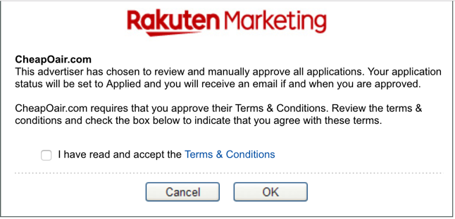 Rakuten marketing merchant application approval notice page