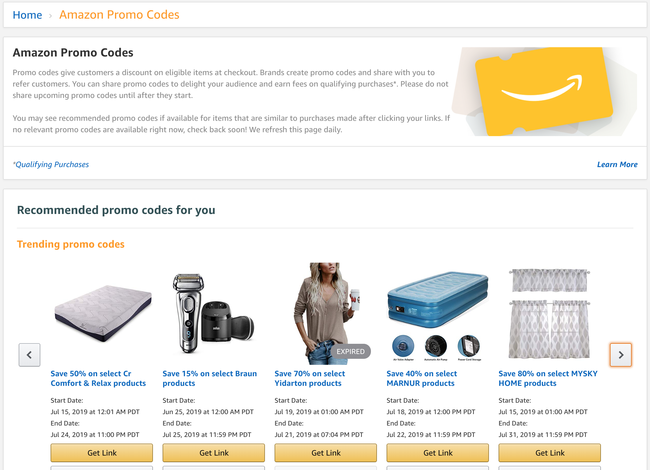 Amazon promo codes page for associate marketers
