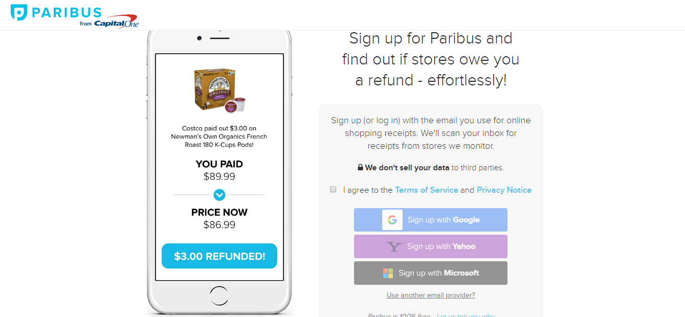 paribus from capital one's landing page