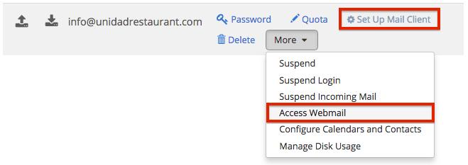 Bluehost dashboard access webmail