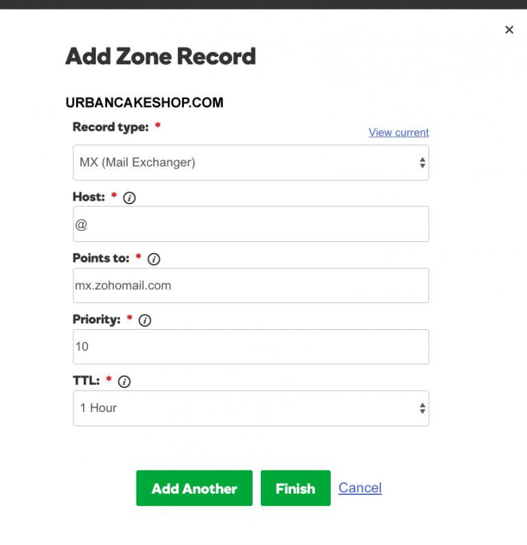 Add zone record