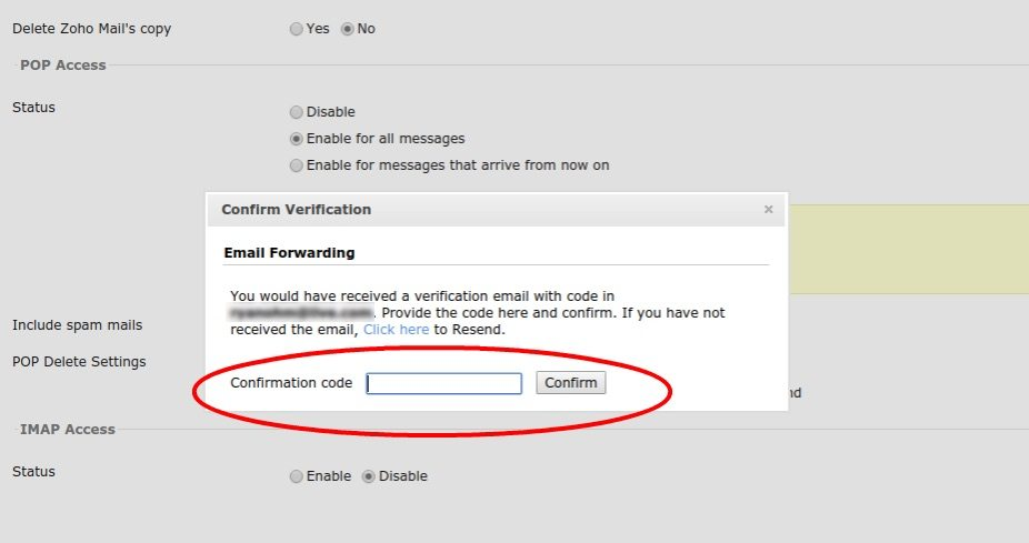 Add confirmation code for Zoho email forwarding