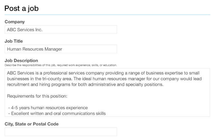 Job posting page on Indeed