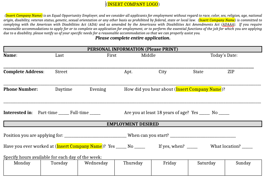 Sample job application template on Homebase