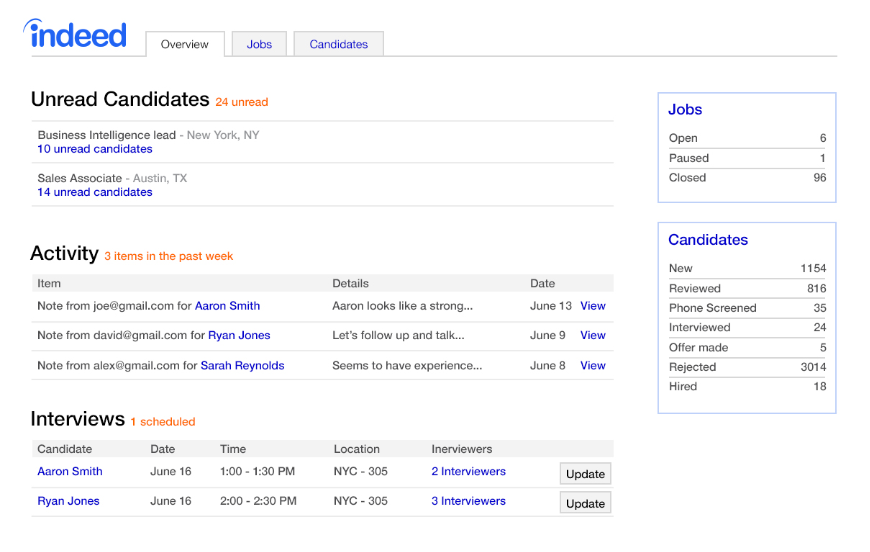 Indeed dashboard for viewing resumes and scheduled interviews