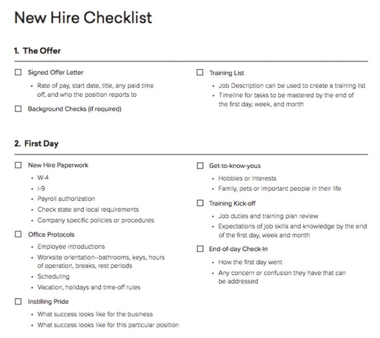 New hire checklist from Homebase