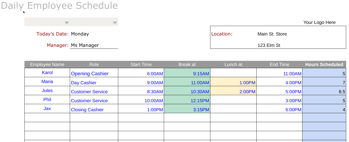 Daily Employee Schedule Spreadsheet Example