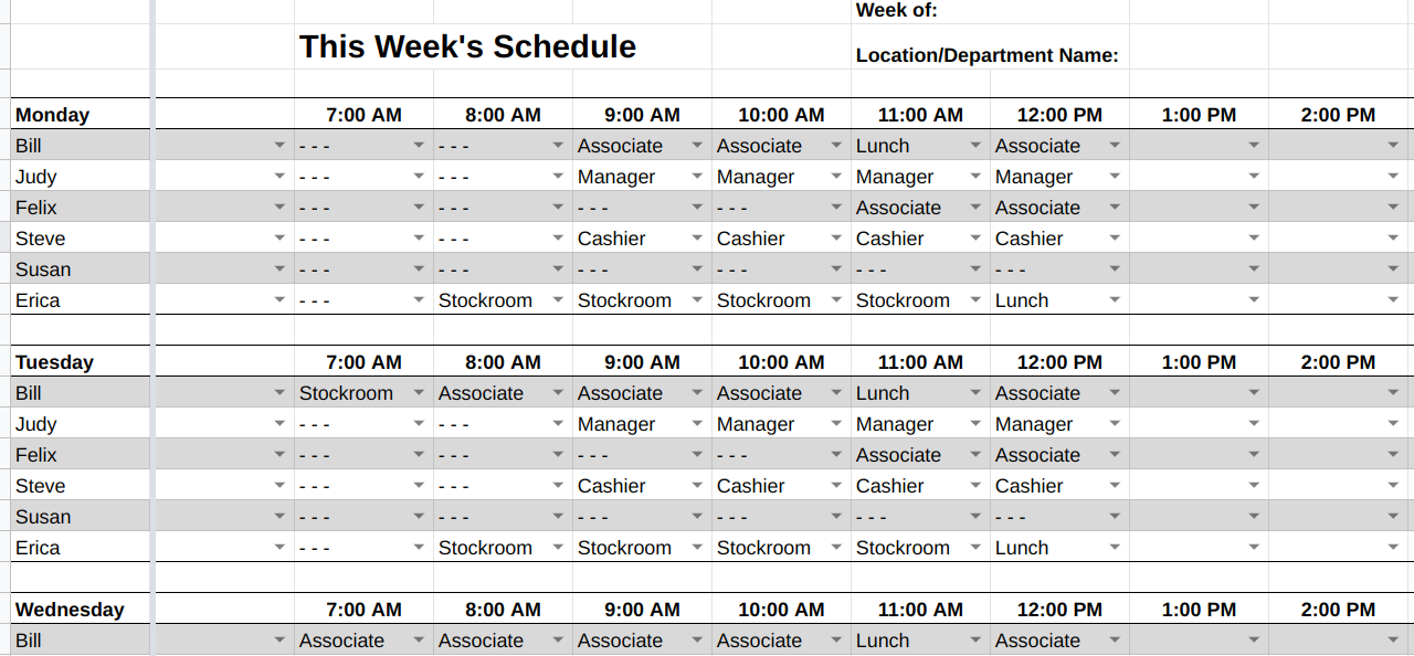 Weekly Employee Schedule Spreadsheet Example