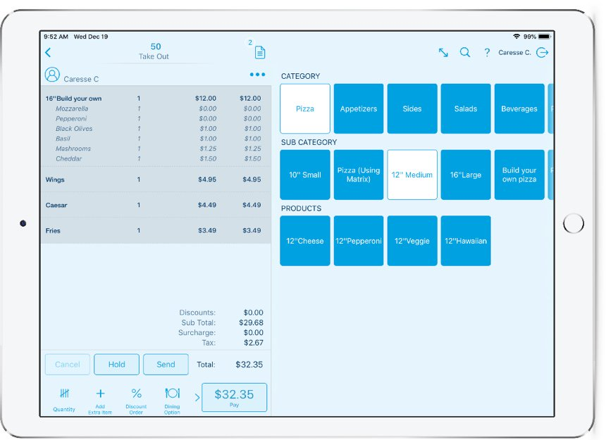 an example of the restaurant POS software from revel