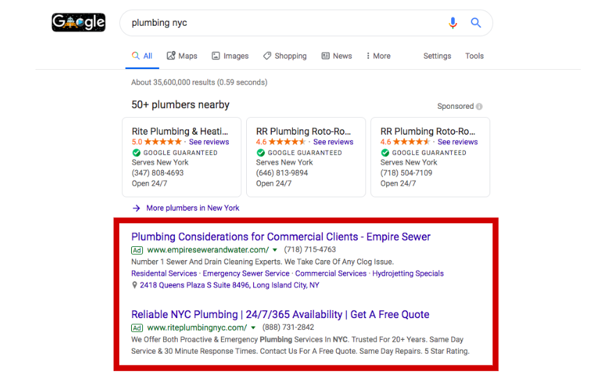 Example of Google Ads in search results