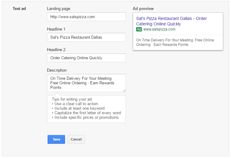 Writing a text ad with Google Ads