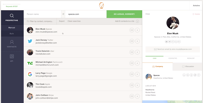 Screenshot of VoilaNorbert dashboard