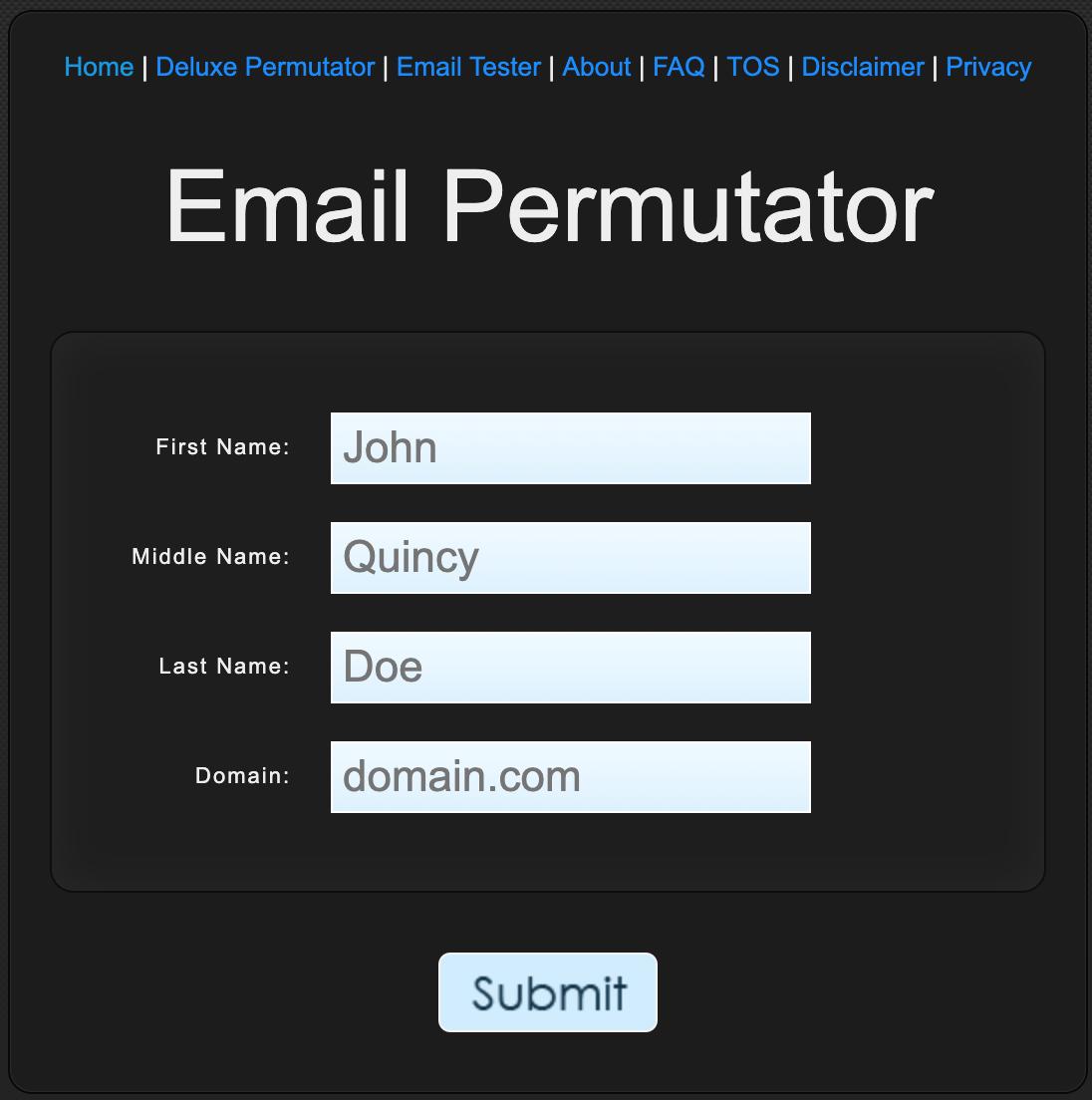 Screenshot of Email Permutator search form