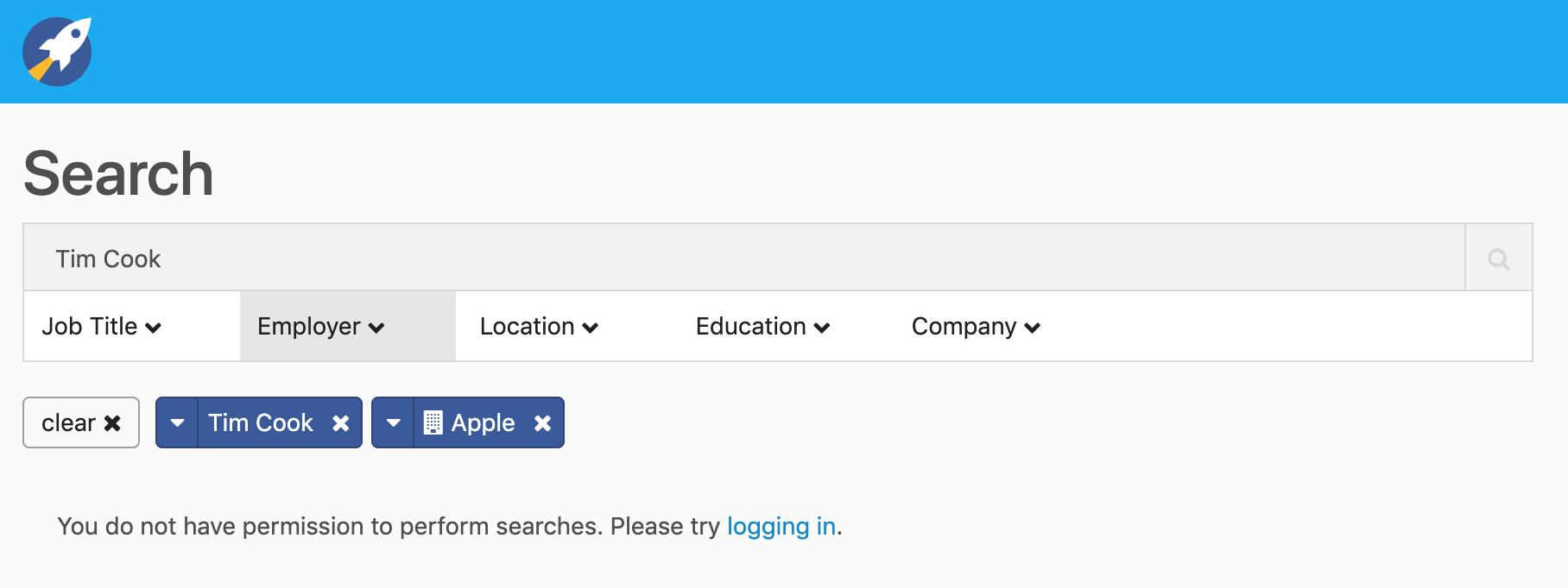 Screenshot of RocketReach user dashboard