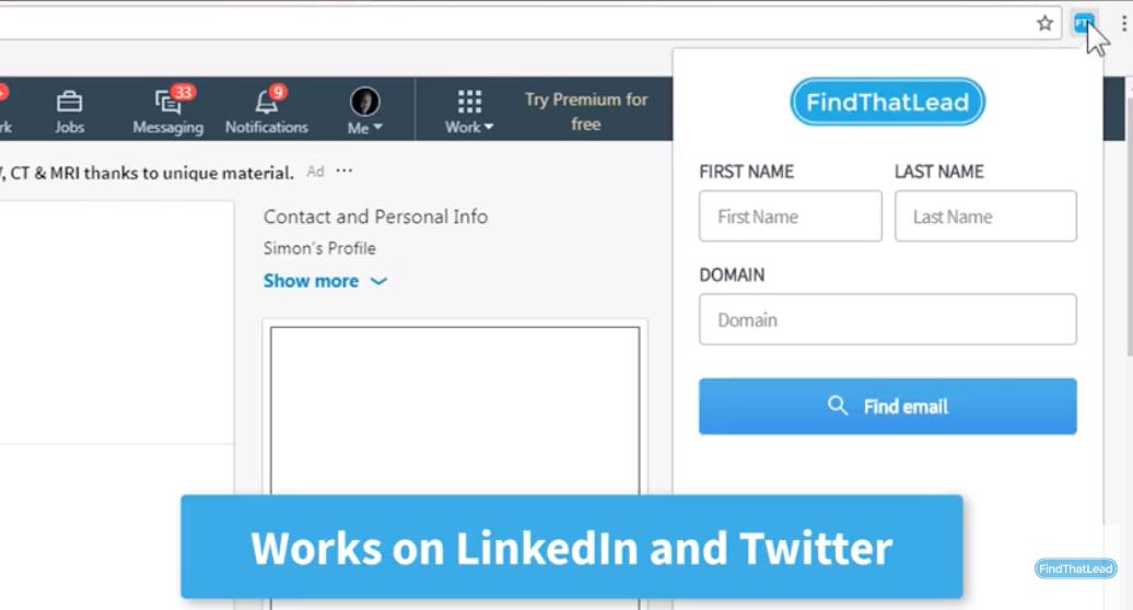 Screenshot of FindThatLead Chrome extension