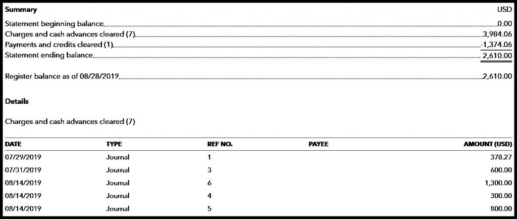 screenshot of a credit card reconciliation report