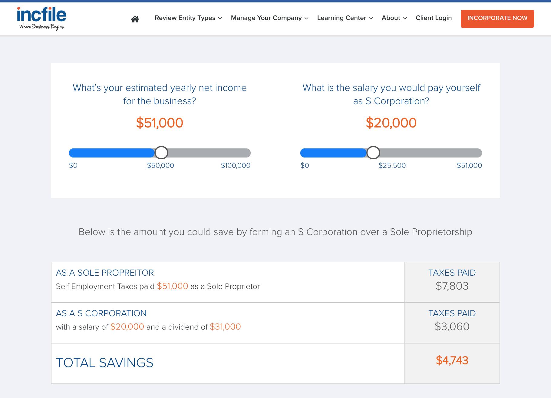 Incfile S corporation savings calculator