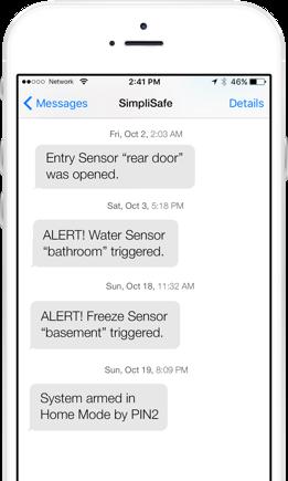 simplisafe sms text message alerts