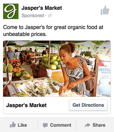 an example of a Local Brand Awareness Ad on facebook