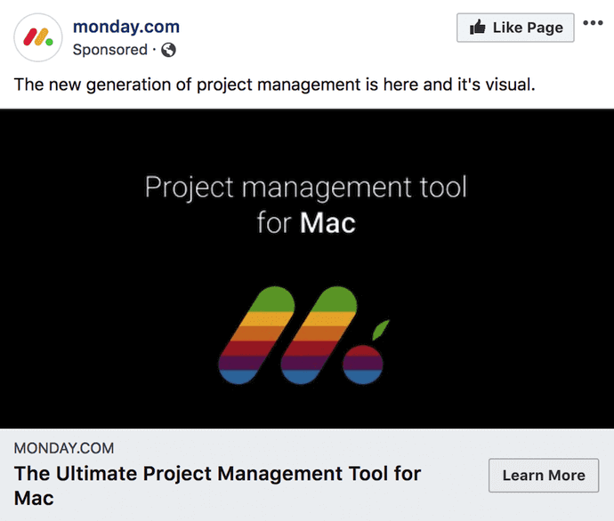 an example of a link click ad on facebook