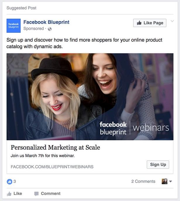 an example of a Facebook Lead Ad