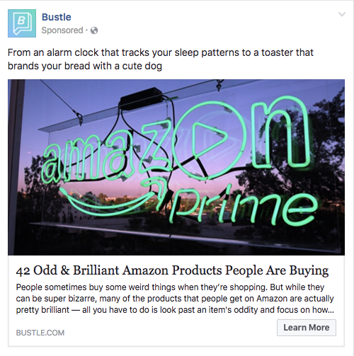 an example of a Facebook Boosted Post Ad