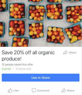 an example of a Mobile Offer Ad on facebook