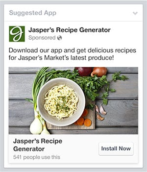 an example of a Facebook Mobile App Ad