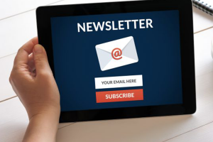Opening news letter in tablet