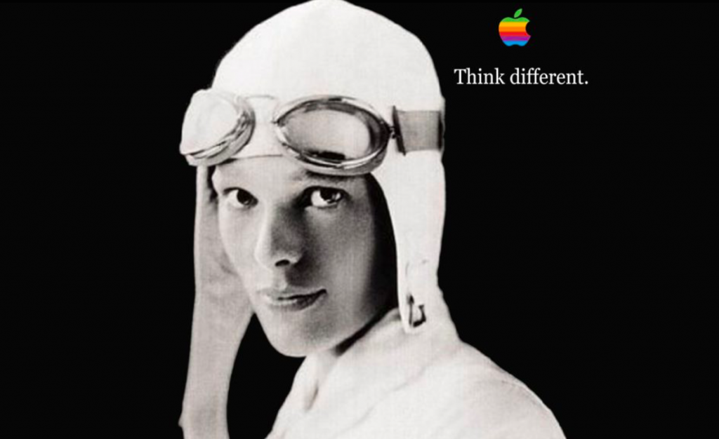 Apple's slogan featuring Amelia Earhart