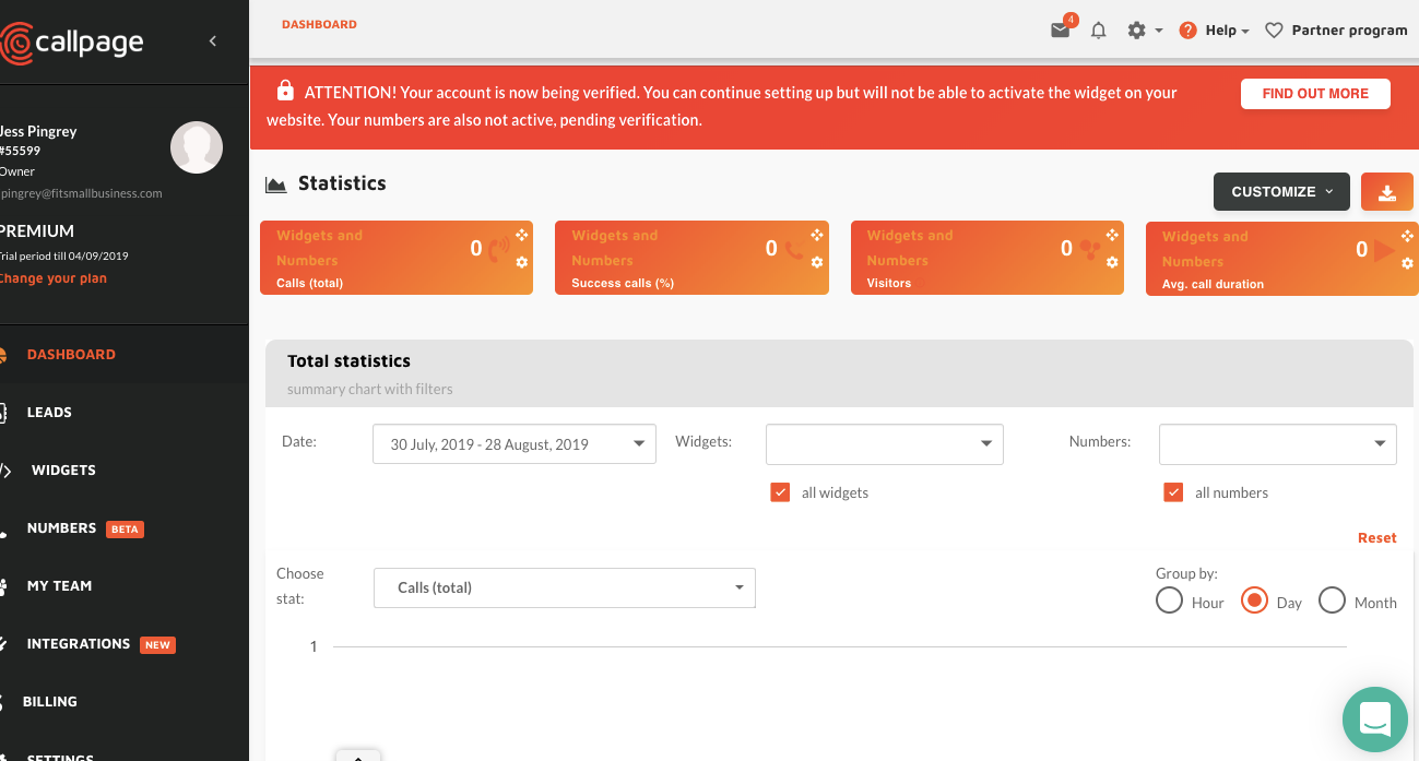 Callpage Dashboard