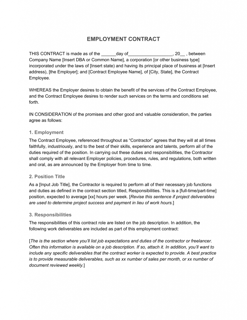 Employment Contract 1099 Template