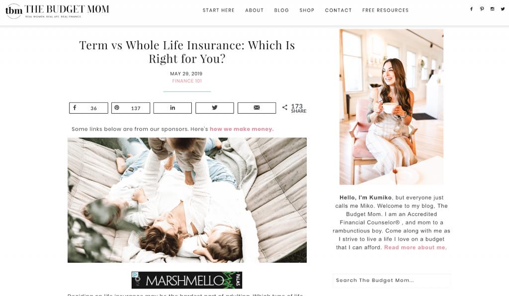 The Budget Mom's website
