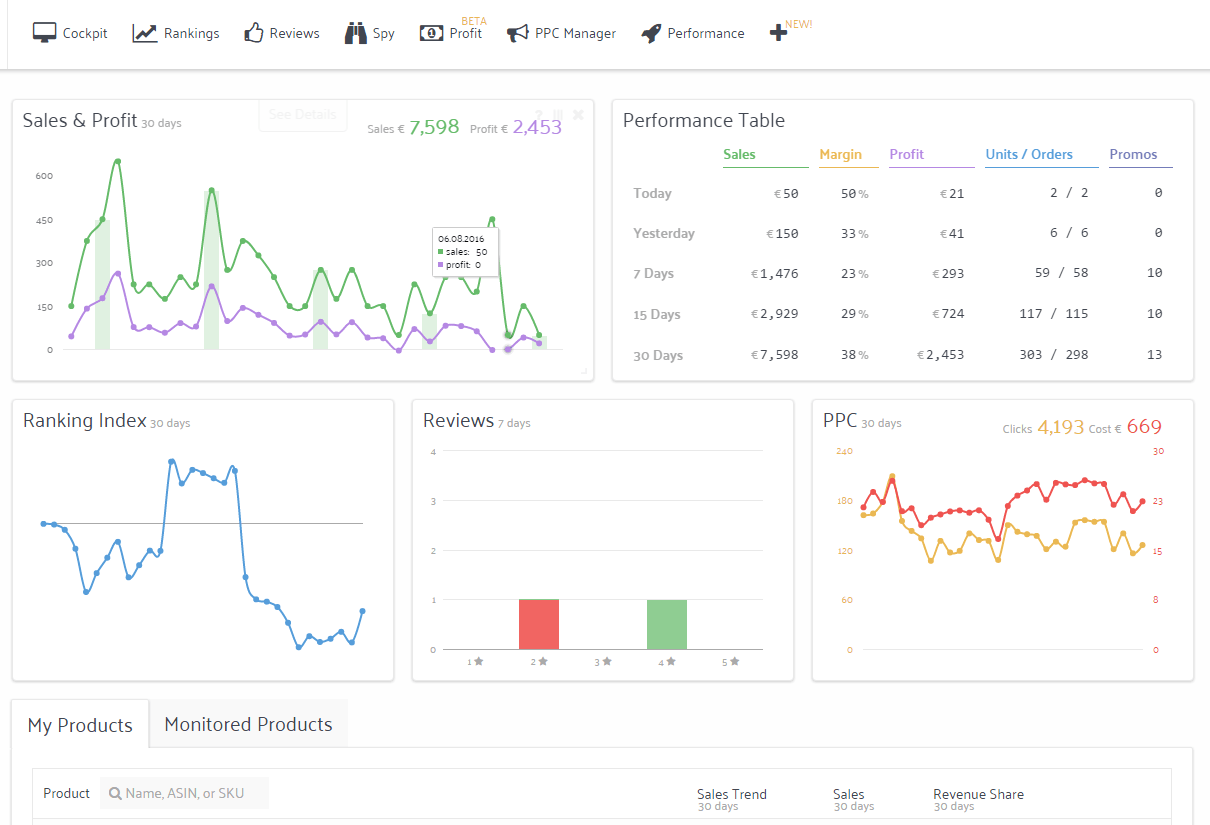 Sellics sales overview