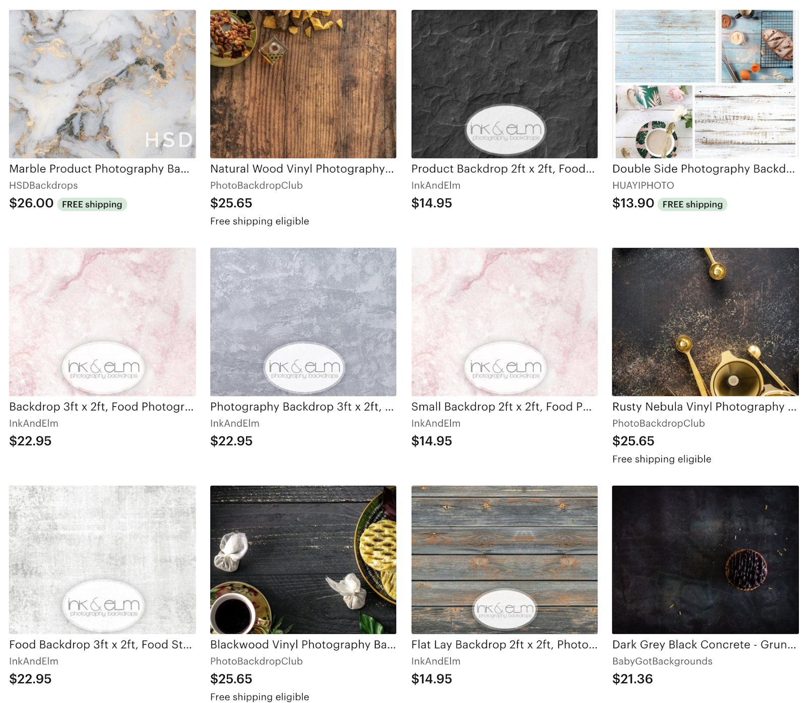 An example of what an Etsy search for photography backdrops looks like to a buyer