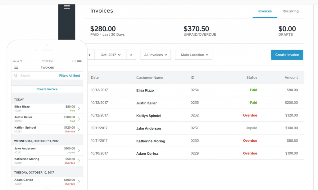 Sqaure invoice screen