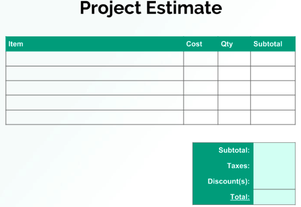 Budget Estimate Proposal Template Example