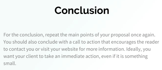 Conclusion Proposal Template example