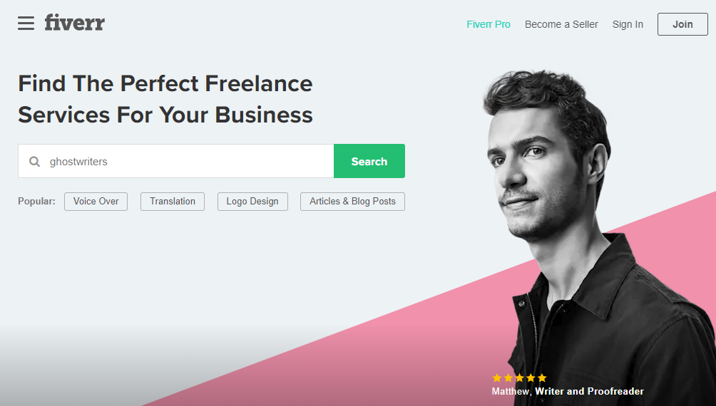 search page for Fiverr