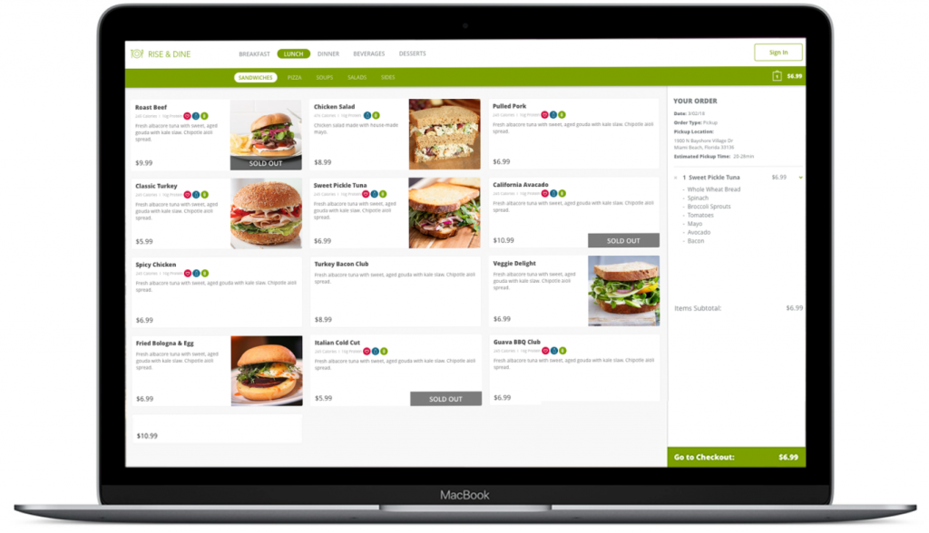 an example of Lavu's built-in online ordering system