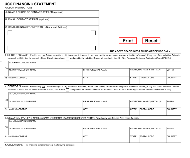 UCC-1 financing statement example