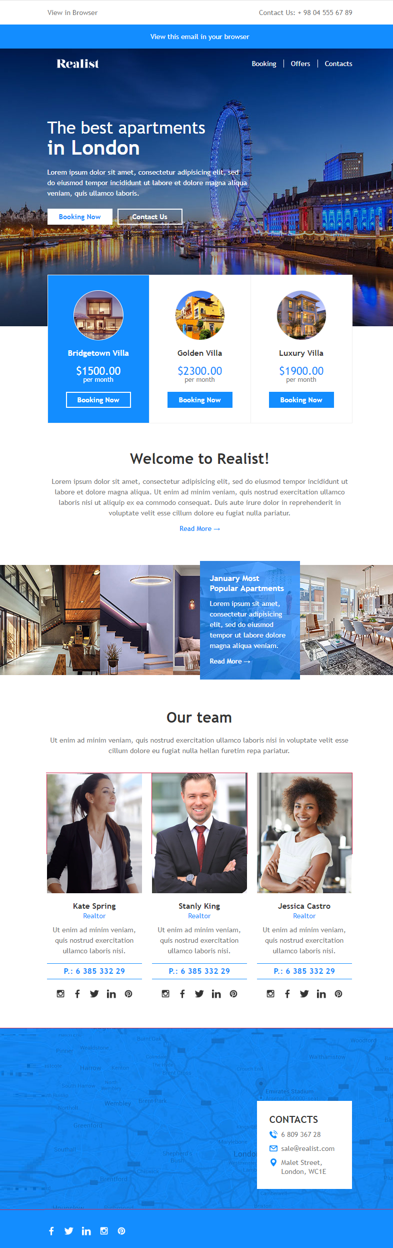 Realist Email Newsletter Template - real estate newsletter templates