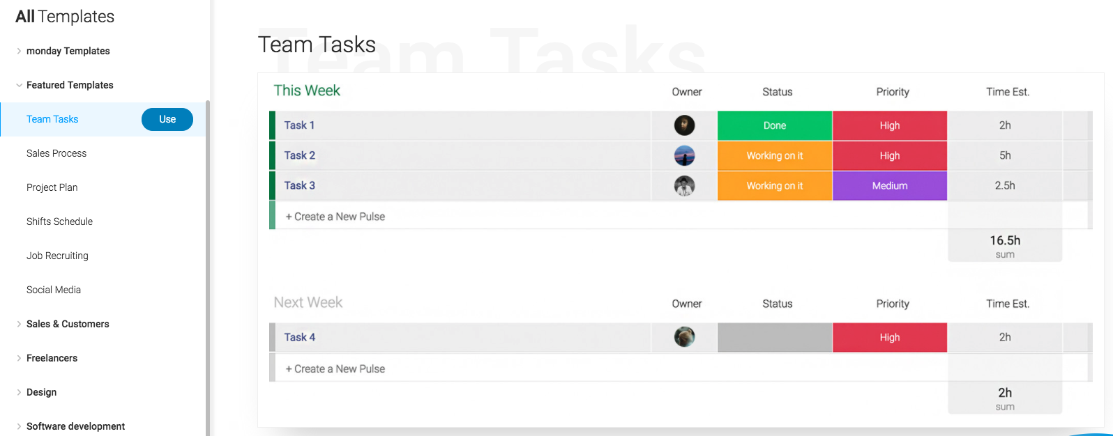Monday.com's project management dashboard