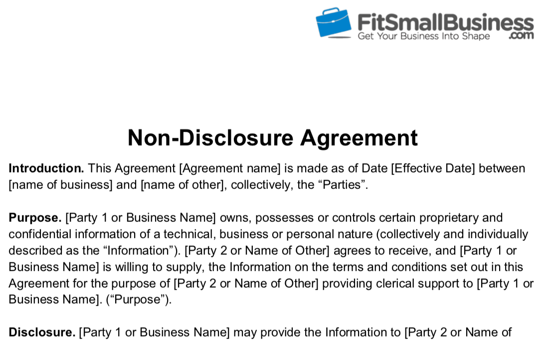 a screenshot of Fit Small Business' free non-disclosure agreement