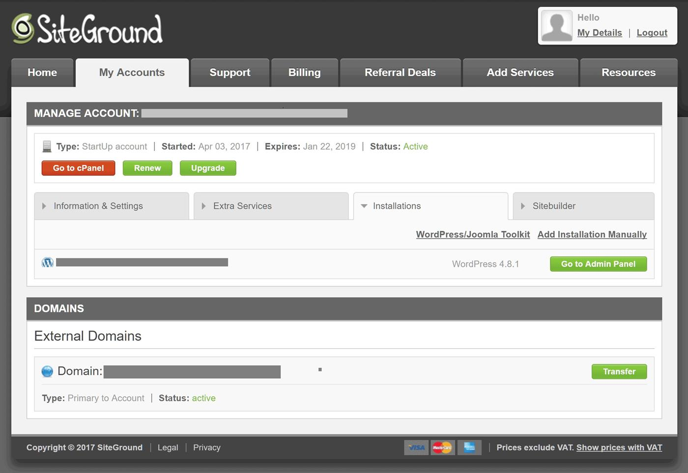 SiteGround Interface