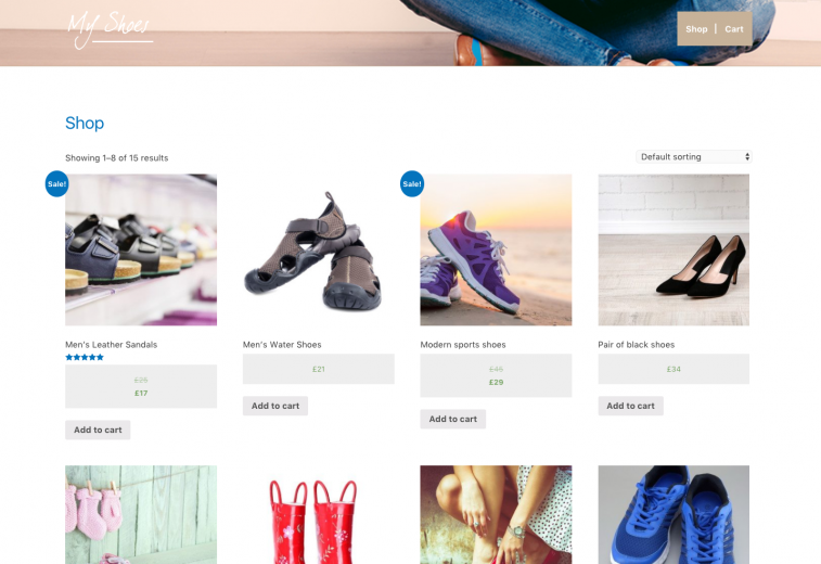 an example of a shop page on a shoe website.