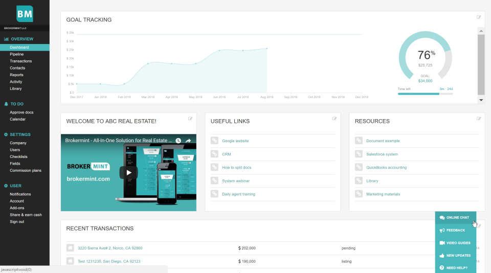 Brokermint dashboard
